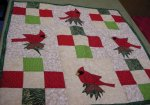 Cardinal applique 9 square wall quilt