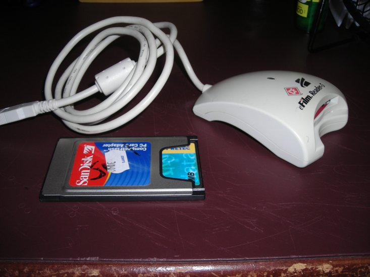 Compact flash card, adapter and reader - Click Image to Close