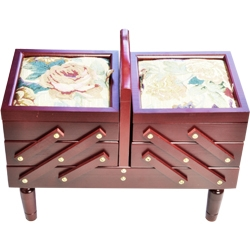Wooden large caddie with tapestry tops- P3016K