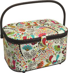 Sewing Basket, Large Oval wicker and floral