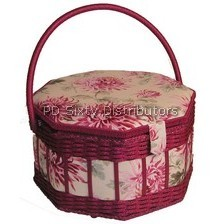 Sewing basket, Hexagon floral and wicker