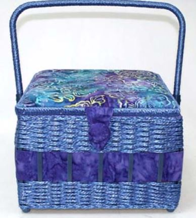 *Large Square Hobby Storage Box in Blue Batik