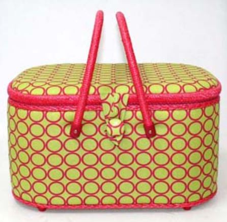 *Large Oval Hobby Storage Box in Lime Green Fabric