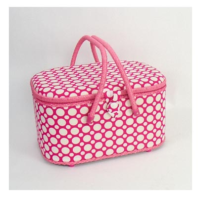 *Pink Polka dot oval sewing basket Item No: SB007